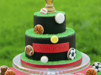 Sports cake and cupcakes