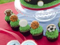 Sports cake cupcake and cookies